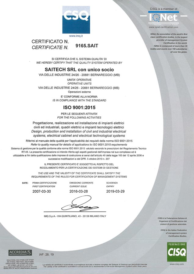SAITECH certificato ISO 9001 2015   CSQ