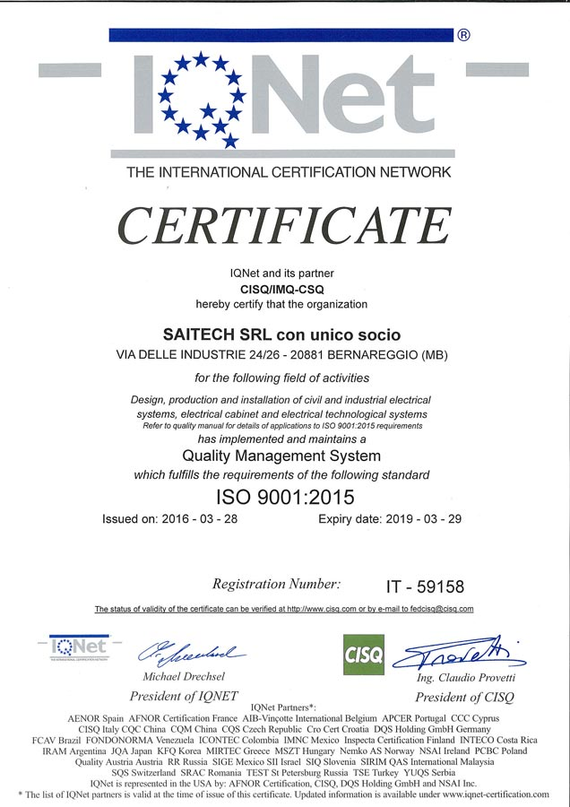 SAITECH certificato ISO 9001 2015  IQNet